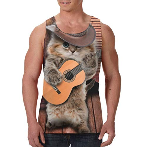 Tank Tops Country Funny Guitarist Cat Play Guitar Mens Tank Top Breathable Summer Casual Tees Black]()