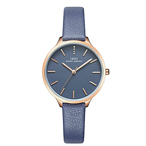IBSO Small Watches Leather Strap Round Case Elegant Wristwatch for Female