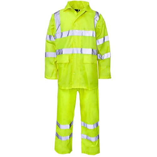 Rimi Hanger High Visibility PVC Rainwear Rain Suit Adult Work Wear Reflective Safety Dress Yellow XXX Large