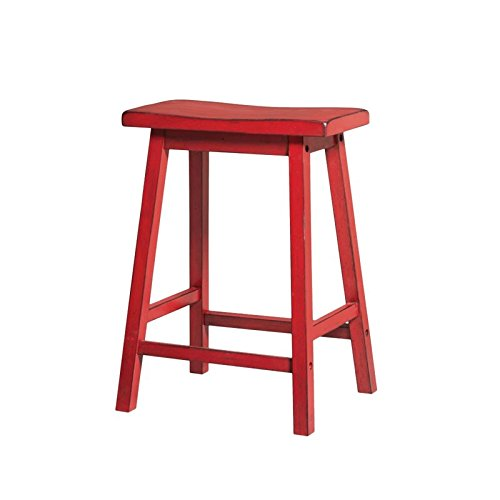 ACME Furniture Gaucho Counter Height Stool (Set of 2), Antique Red (French Style Counter Stool)