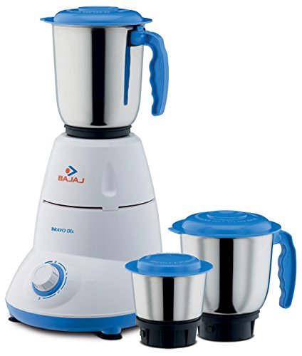 Bajaj Bravo Dlx 500-Watt Mixer Grinder (White/BLUE)