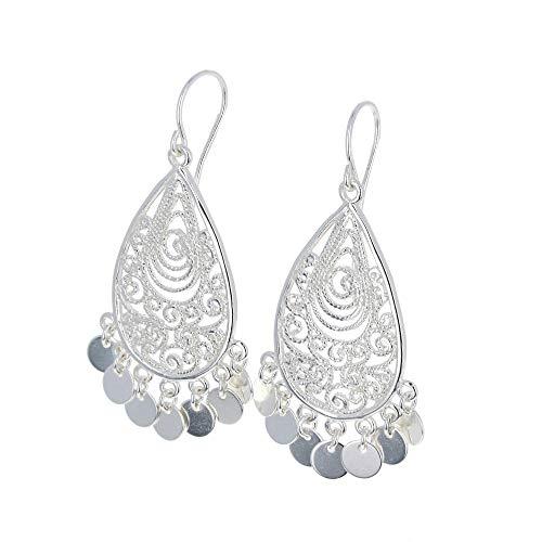 Mayas Gems Sterling Silver, Earrings, Silver Earrings, Ornate Chandeliers, Floating ()