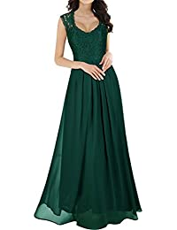Womens Casual Deep- V Neck Sleeveless Vintage Wedding Maxi Dress