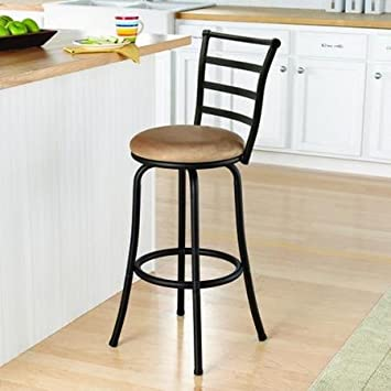 Mainstays 29 Ladder Back Barstool with Tan Microfiber Swivel Seat, Black Metal Finish