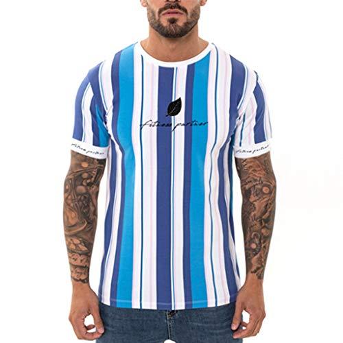 Mens T Shirts Sport Crewneck Short Sleeve Tops Striped Tee Workout Blouse Plus (XXL, Blue) ()
