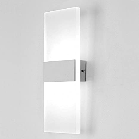 70532c6b71e7 Unimall LED Beside Wall Lights 6W Acrylic Decorativ Up Down White Wall  Sconce Lamp for Living Room Bedroom Corridor Office, Cool White [Energy  Class A+++]
