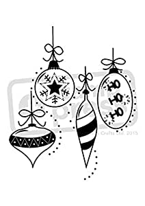 A7 'Christmas Baubles' Unmounted Rubber Stamp (SP00001565)