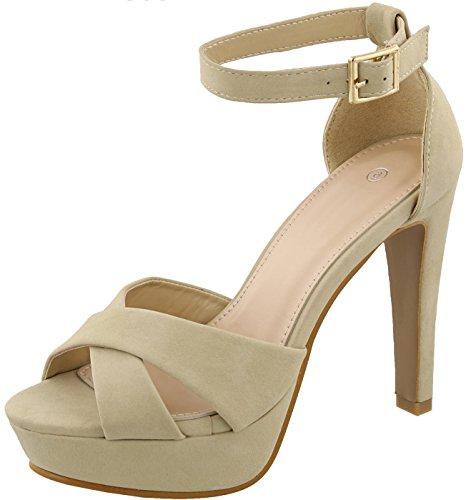 Cambridge Selezionare Donna Peep Toe Incrociato Caviglia Fibbia Strappy Piattaforma Robusta Conico Tacco Alto Sandalo Beige Nbpu