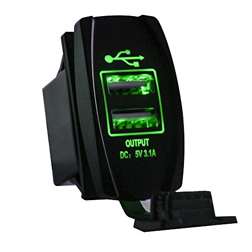MotoCityTM Universal Rocker Style Car USB Charger - with Blue LED Light Dual USB Power Socket for Rocker Switch Panel (Green)