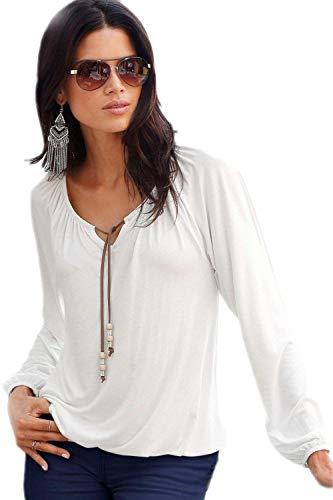 Shirts Solidi Tops Slim Manica Neck Colori Camicetta Stlie Autunno Grazioso Tshirts Vintage Donna Primaverile Fit Strappy Camicetta V Casuale Bianca Lunga Moda Elegante Festivo RUxTAp