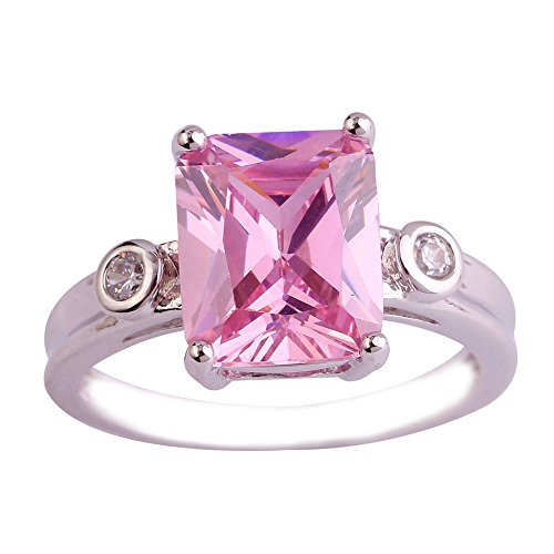 Empsoul 925 Sterling Silver Natural Chic Filled 3 Carat Pink Topaz Emerald Cut Wedding Ring (3 Carat Emerald Cut Diamond Ring For Sale)