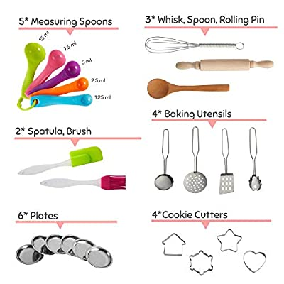 Nearbyme Kids Cooking and Baking Chef Set - 28 Pcs Includes Apron, Chef Hat, Oven Mitt, Pot Holders, Plates, Rolling Pin, Spoon, Cookie Cutters and Baking Utensil for Age 3+ Girls Gift: Toys & Games