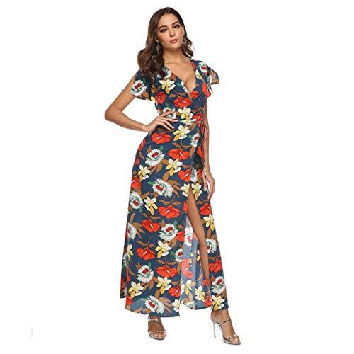 - Kiminana Fashion Womens V Neck Floral Print Dress Ladies Short Sleeve Bohemia Long Dress