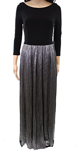 Vince Dress Pleated (Vince Camuto Pleated Silver Women's Evening Gown Black 4)
