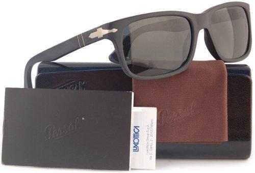 Persol PO3048S Polarized Sunglasses Matte Black w/Crystal Grey (9000/58) PO 3048 900058 58mm Authentic (Model Persol)