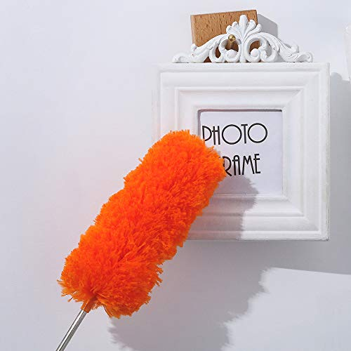 (Ecurson Extendable Cleaning Microfiber Fluffy Duster set with telescopic Pole, Washable fluffy Duster for high reach ceiling fan, Office and Car)