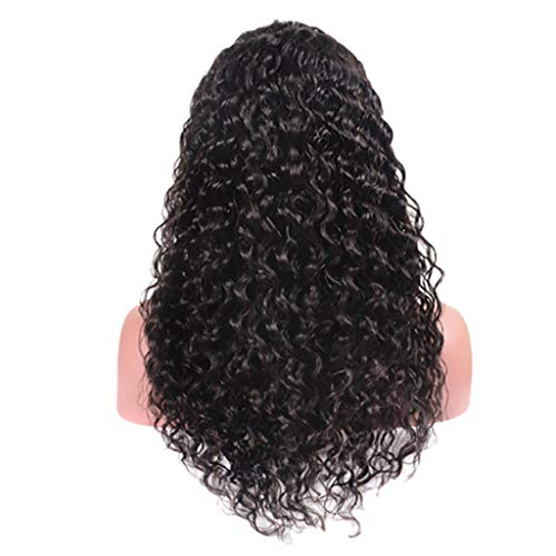 Brazilian Virgin Human Hair Wigs Cosplay Party Glueless Long Wave Lace Front Wigs,Best Gift for Brithday Morter's Day (Black, 23 inch)