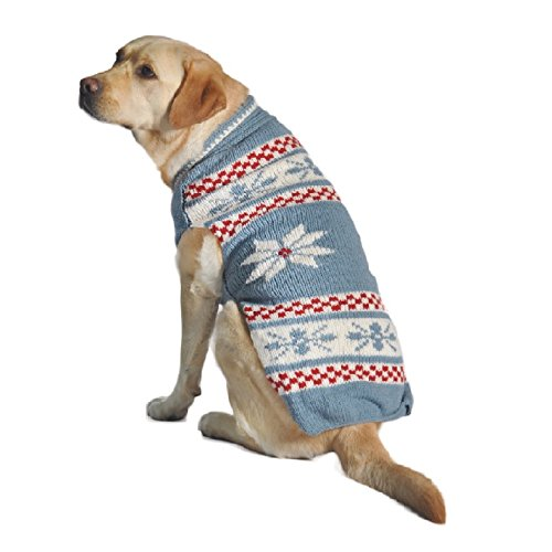 Chilly Dog Powder Snowflake Dog Sweater, Blue, XX-Large For Sale