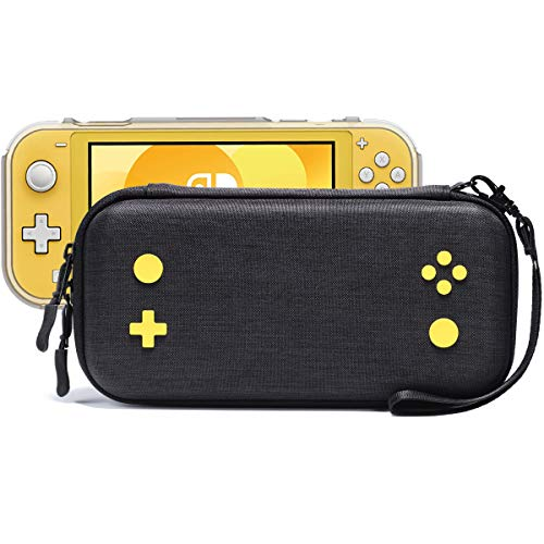 Rayvol Slim Case for Nintendo Switch Lite, Fits Console W/Protective Case, 16 Game Cartridges, Portable Hard Shell Cover Carrying Bag Travel Pouch, Yellow Gaming Pattern Design, Color Black