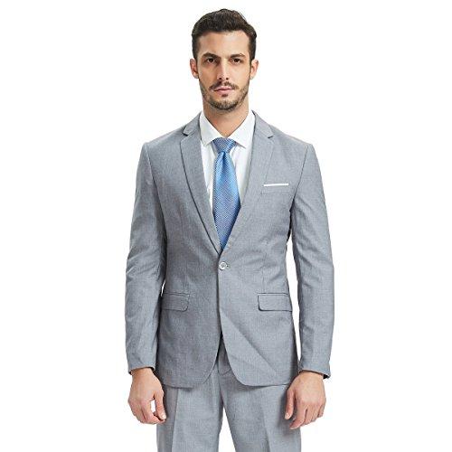 Henoo Men's Suit 2 Piece Set - Slim Fit Blazer Jacket Vest Suit Pants Set for Business, Wedding, Party, Light ()