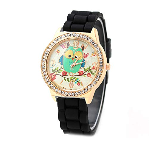 Point Drill Green Owl Branch Ladies Watch Point Diamond English Table Genuine Leather Women Watch Crystal Studded Bezel