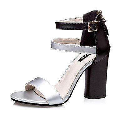 5 Silver PU Chunky EU38 Golden Casual Heel White CN38 5 Burgundy Summer US7 UK5 Women's wOqU1xY1