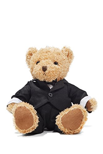 "Groom Teddy Bear in Tuxedo Wedding Stuffed Animal Newlywed Plush Sitting Toys 8"" (light brown, black)"