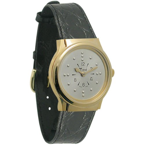 Mens Gold-Tone Quartz Braille Watch with Leather Band