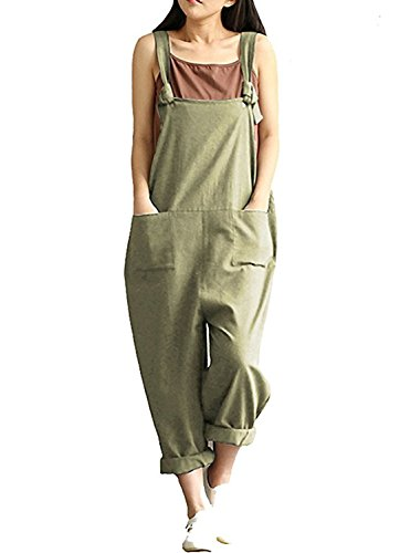 Lncropo Women Large Plus Size Baggy Overalls Casual Wide Leg Pants Sleeveless Rompers Jumpsuit Vintage Haren Overalls (4XL, Green) by Lncropo