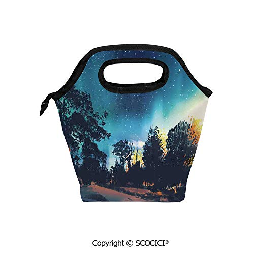 Lightweight Portable Picnic tote lunch Bags Enchanted Night with Stars and Northern Lights in Sky above Mystic Road lunch bag for Employee student Worker. -