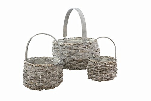 tan Basket with Wooden Handle, 3 Piece ()