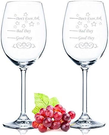 Leonardo XL - Juego de 2 copas de vino - Good Day Bad Day Don't Even Ask - Regalo de cumpleaños - Regalos divertidos - Adecuado como copas de vino blanco copas de vino tinto, regalo original