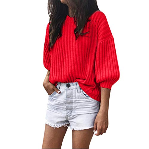 ANJUNIE Women Solid Cashmere O-Neck Sweater Loose Knitted 3/4 Latern Sleeve Inter Warm Wool Pullover (Red,5XL) -