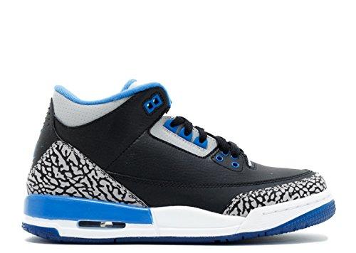 Nike Air Jordan 3 Retro BG Zapatillas de Deporte, Niños Negro / Azul / Gris (Black / Sport Blue-Wolf Grey)