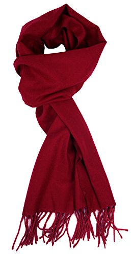 Love Lakeside-Women's Cashmere Feel Winter Solid Color Scarf 0-0 Cranberry Red (Cranberry Small)