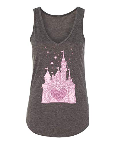 DisGear Perfectly Pink Princess Castle Theme Park Apparel for Women -Soft, Ladies Fitted Tank (2X-Large, Dark Heather Grey V-Neck Tank) Ladies Premium Soft, Sim Fit, V-Neck Tank]()