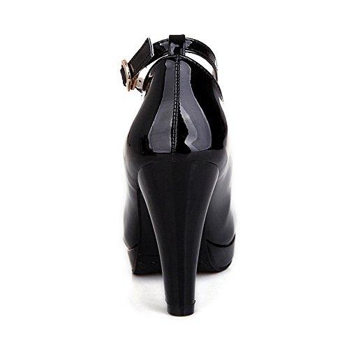 Balamasa Damene Brodert Glass Diamant Metall Kjede Imitert Skinn Pumper-sko Svart