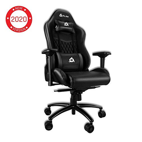 KLIM Esports Gaming Chair Executive Ergonomic Racing Computer Chair – Back Head Support – New – Adjustable Armrest – Desk Office Recliner – Silla Gamer – Black Cushion