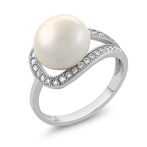 - 10MM Cultured Freshwater Pearl and Round Zirconia 925 Sterling Silver Ring (Size 6)