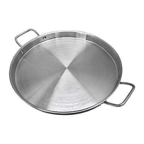 (15'' Stainless Steel Flat Surface Comal Griddle Top Grill 1-1/2'' Depth Spanish Paella Pan Cooking Kitchen Cookware)