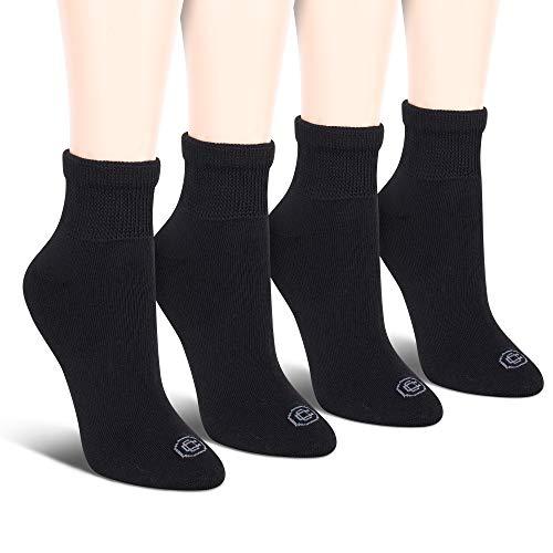 Doctor's Choice Women's Non-Binding Circulatory Diabetic 4 Pack Black Cushioned Quarter Socks, Shoe Size 4-10