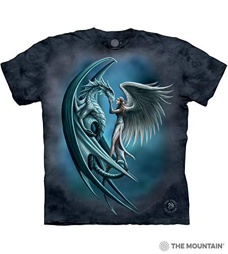 The Mountain Angel & Dragon Adult T-Shirt, Blue, Large