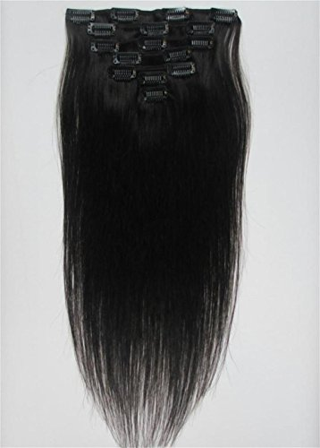"""Full Head 26"""" Inch Color Black/Brown/Blonde Silky Straight Clip on in Human Hair Extensions, 7pcs, (26inch 120g with clips/pake, #1B Natural Black)"""