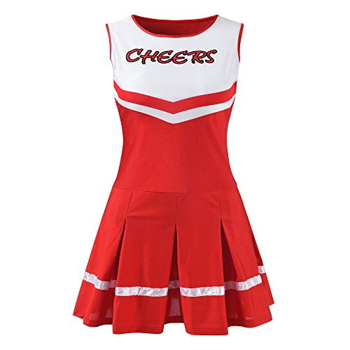 Women's Musical Uniform Fancy Dress Costume Complete Cheerleading Outfit (L, Red) (Piece Dress Cheerleader One)