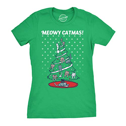 Womens Meowy Christmas Cat Tree Ugly Christmas Sweater T Shirt Green (Green) - L