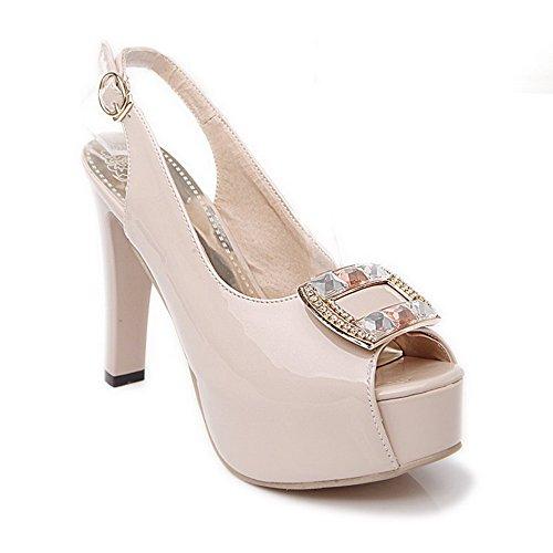 VogueZone009 Women Buckle PU Peep-Toe High-Heels Solid Sandals, CCALP013429 Beige