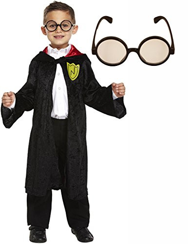[Boys Girls Wizard Cape Fancy Dress Book Week Day Costume With Glasses Age 7-9] (Harry Potter Fancy Dress Costumes)