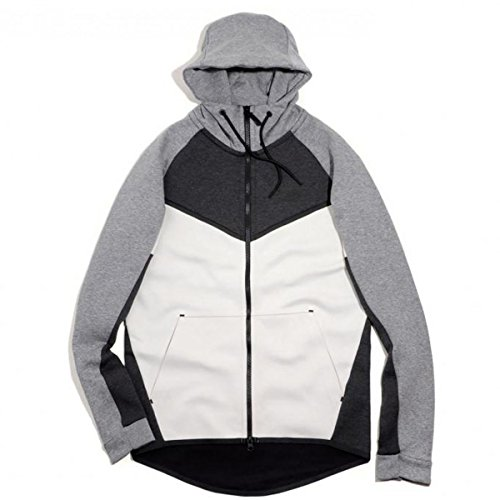 885904-032 MEN M NSW TCH FLC WR HOODIE FZ CB NIKE BLACK HEATHER LIGHT BONE