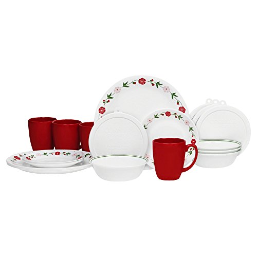 USA Corelle Contours 16 Piece Dinnerware Set Spring Pink Service For 4 11