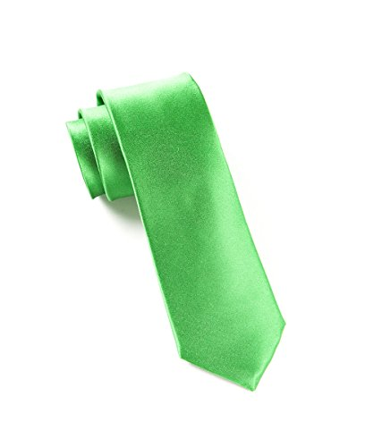The Tie Bar 100% Woven Silk Kelly Green Solid Satin 2 1/2 Inch Skinny Tie (Solid Satin Cravats)